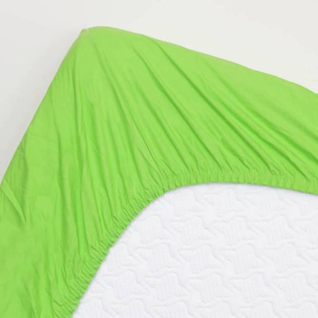 Snoozing - Topper - Hoeslaken - 90x210 cm - Percale katoen - Lime