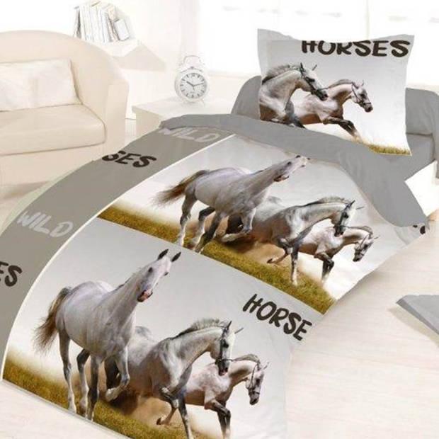 Horse Liberty flanel dekbedovertrek - Flanel / Katoen - 1-persoons (140x200 cm) + 1 sloop (65x65 cm) - Grijs