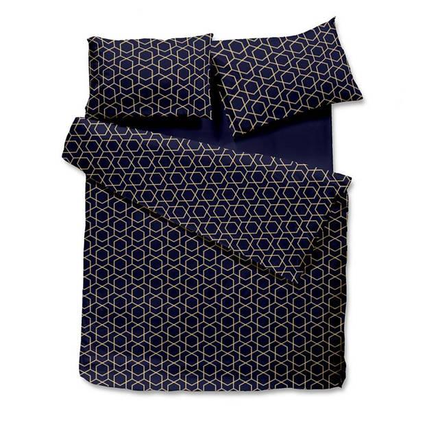 Snoozing Sasha dekbedovertrek - 100% katoen-satijn - 2-persoons (200x200/220 cm + 2 slopen) - 2 stuks (65x65 cm) - Blauw