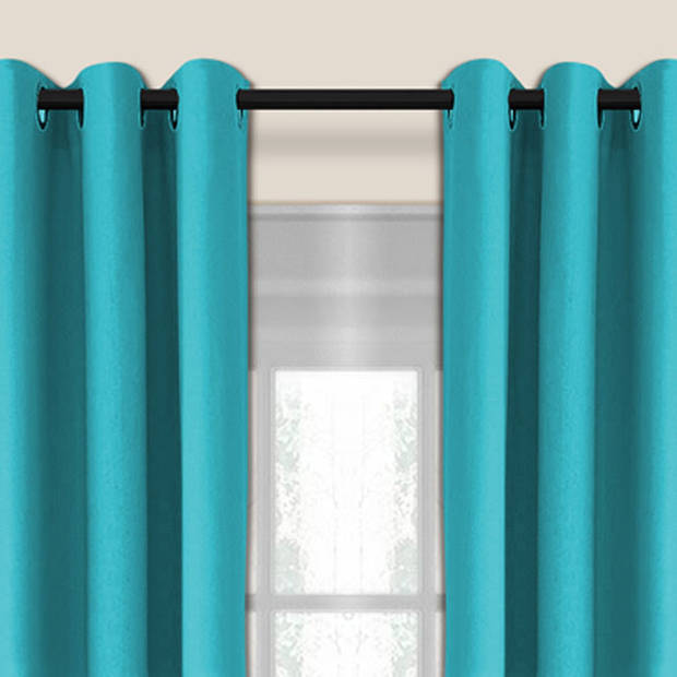Larson - Luxe verduisterend gordijn met ringen- 150x250 cm - Turquoise