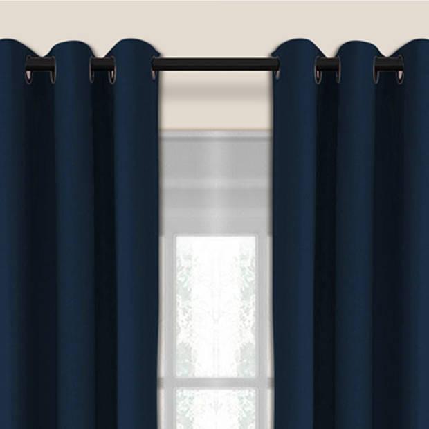 Larson - Luxe verduisterend gordijn met ringen- 150x250 cm - Dark Blue