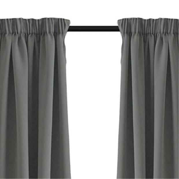 Larson - Luxe verduisterend gordijn met haken - 150x250 cm - Grey