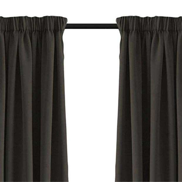 Larson - Luxe verduisterend gordijn met haken - 150x250 cm - Dark Grey