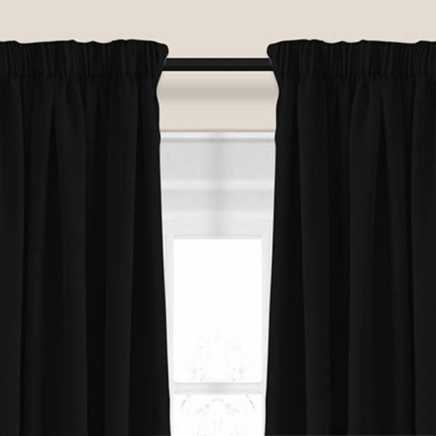 Larson - Luxe verduisterend gordijn met haken - 150x250 cm - Black