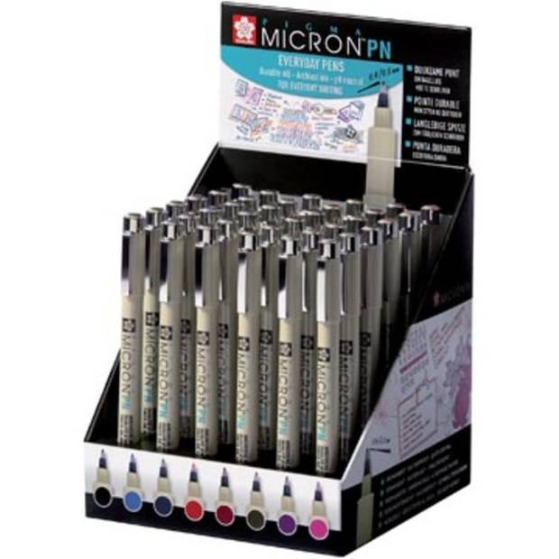 Sakura fineliner Pigma Micron PN, display van 36 stuks in geassorteerde kleuren
