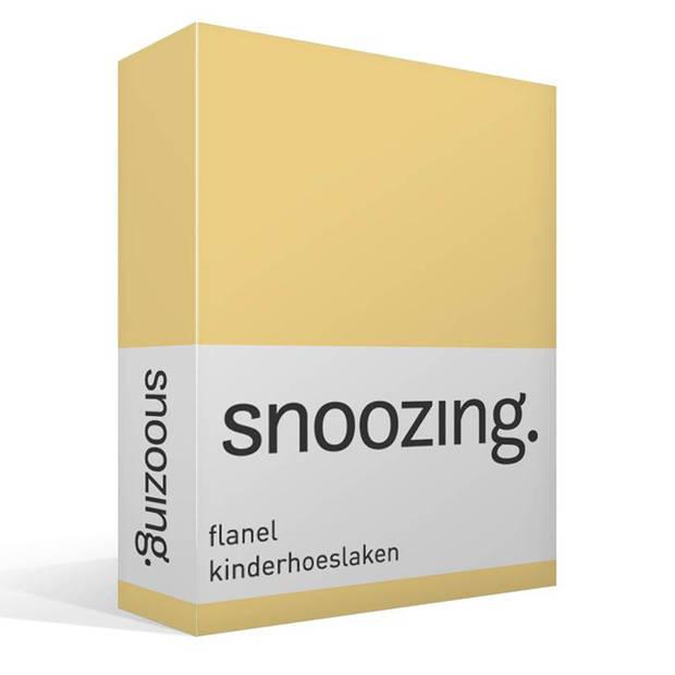 Snoozing - Flanel - Kinderhoeslaken - Junior - 70x140/150 cm - Geel
