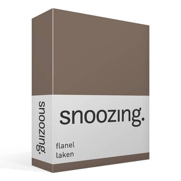 Snoozing - Flanel - Laken - Lits-jumeaux - 240x260 - Bruin