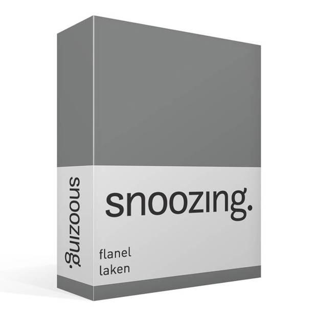 Snoozing - Flanel - Laken - Tweepersoons - 200x260 - Antraciet