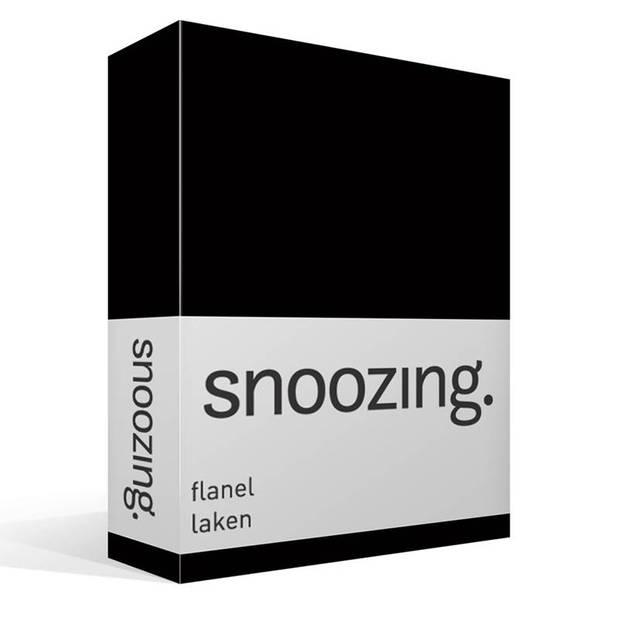Snoozing - Flanel - Laken - Lits-jumeaux - 240x260 - Zwart