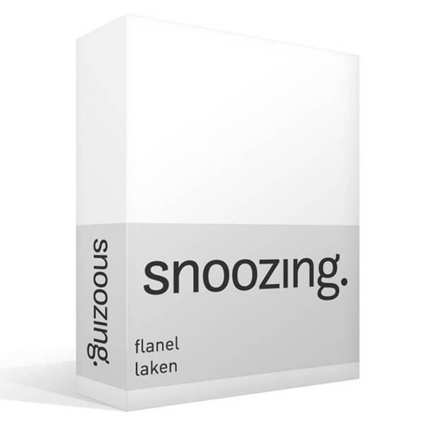 Snoozing - Flanel - Laken - Lits-jumeaux - 240x260 - Wit