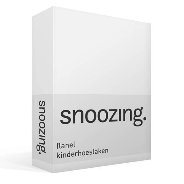 Snoozing - Flanel - Kinderhoeslaken - Junior - 70x140/150 cm - Wit