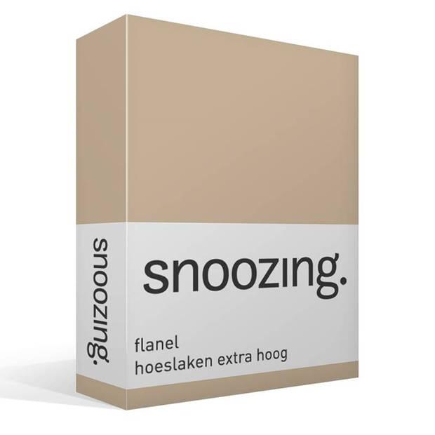 Snoozing - Flanel - Hoeslaken - Extra Hoog - 140x200 - Camel