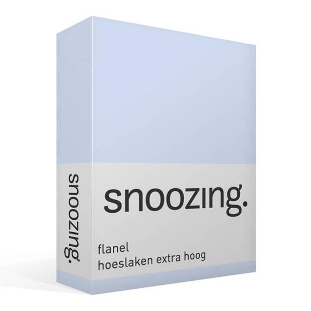 Snoozing - Flanel - Hoeslaken - Extra Hoog - 90/100 x220 - Hemel