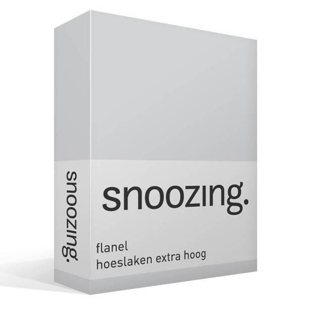 Snoozing - Flanel - Hoeslaken - Extra Hoog - 70x200 - Grijs