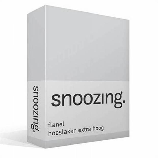 Snoozing - Flanel - Hoeslaken - Extra Hoog - 140x200 - Grijs
