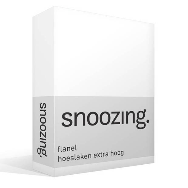 Snoozing - Flanel - Hoeslaken - Extra Hoog - 70x200 - Wit