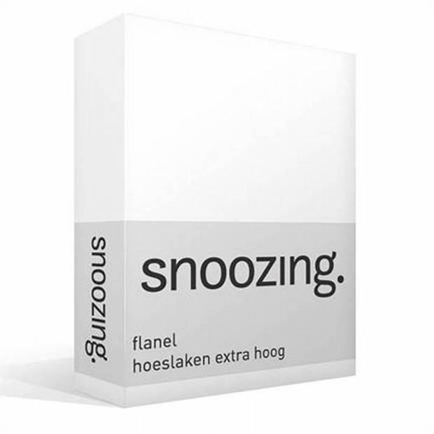 Snoozing - Flanel - Hoeslaken - Extra Hoog - 140x200 - Wit