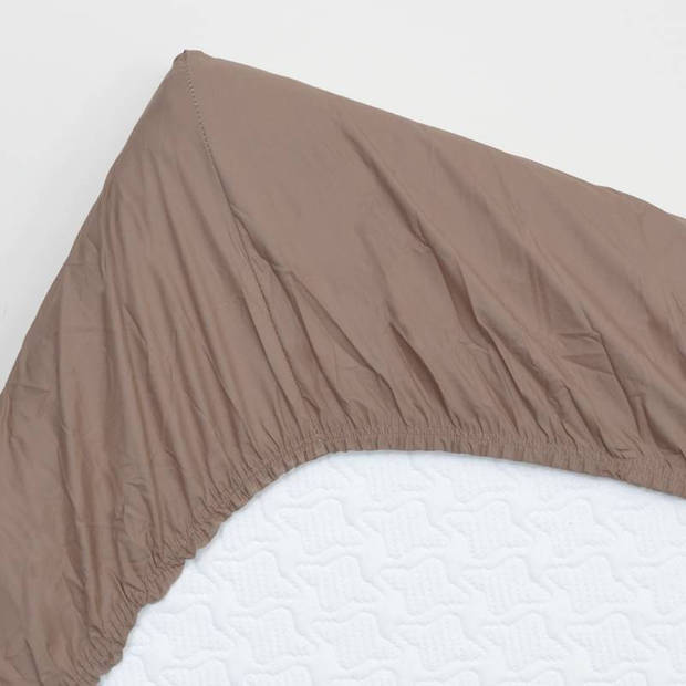 Snoozing - Topper - Hoeslaken - 80x220 cm - Percale katoen - Taupe