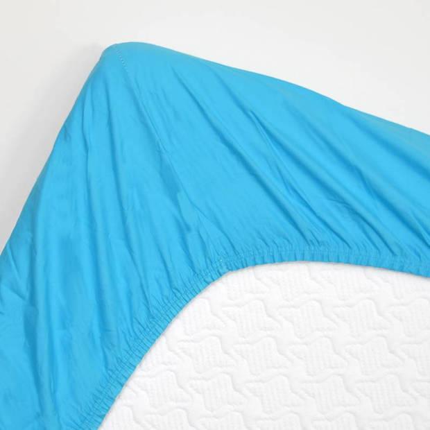 Snoozing - Topper - Hoeslaken - 90x200 cm - Percale katoen - Turquoise