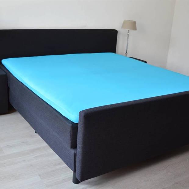 Snoozing - Topper - Hoeslaken - 80x220 cm - Percale katoen - Turquoise