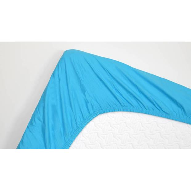 Snoozing - Topper - Hoeslaken - 140x220 cm - Percale katoen - Turquoise