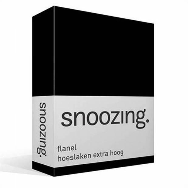 Snoozing - Flanel - Hoeslaken - Extra Hoog - 80/90 x200 - Zwart