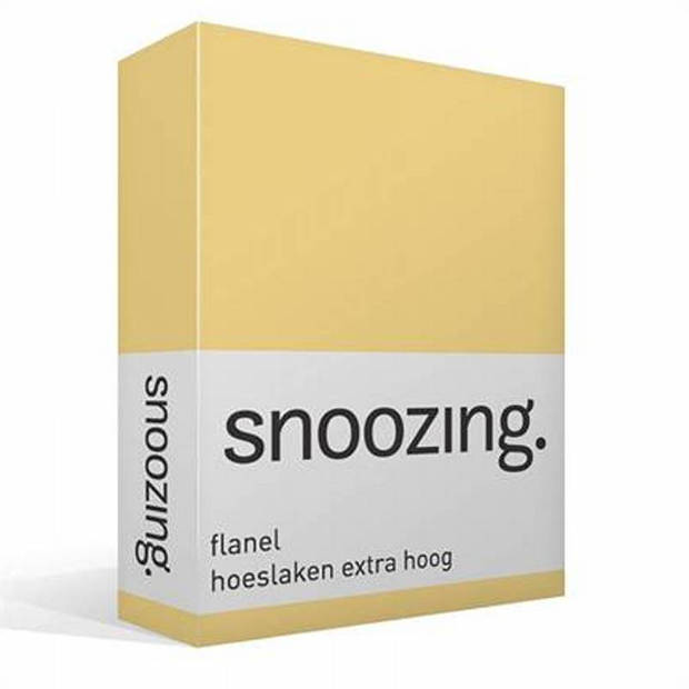 Snoozing - Flanel - Hoeslaken - Extra Hoog - 140x200 - Geel