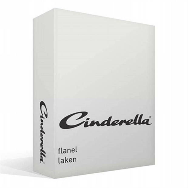 Cinderella flanel laken - 100% geruwde flanel-katoen - Lits-jumeaux (240x260 cm) - Off-White