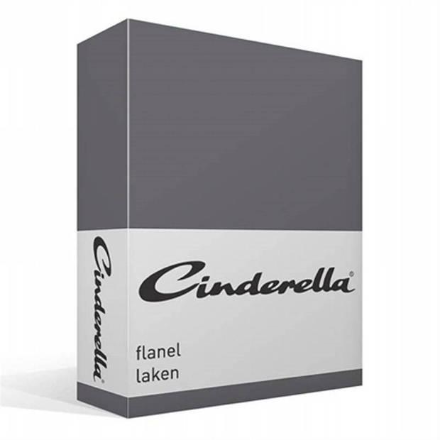 Cinderella flanel laken - 100% geruwde flanel-katoen - Lits-jumeaux (240x260 cm) - Grijs