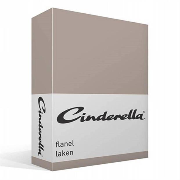 Cinderella flanel laken - 100% geruwde flanel-katoen - Lits-jumeaux (240x260 cm) - Taupe