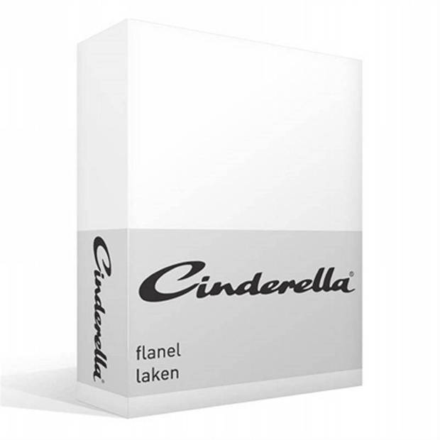 Cinderella flanel laken - 100% geruwde flanel-katoen - Lits-jumeaux (240x260 cm) - Wit
