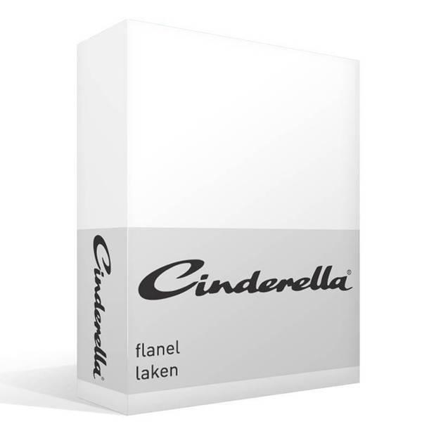 Cinderella flanel laken - 100% geruwde flanel-katoen - 1-persoons (160x260 cm) - Wit