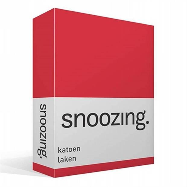 Snoozing - Laken - Katoen - Lits-jumeaux - 240x260 - Rood