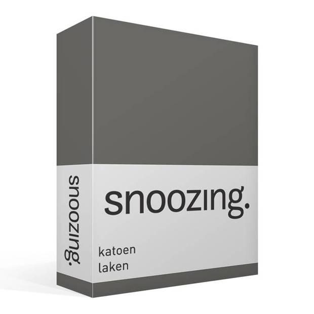 Snoozing - Laken - Katoen - Lits-jumeaux - 240x260 - Antraciet
