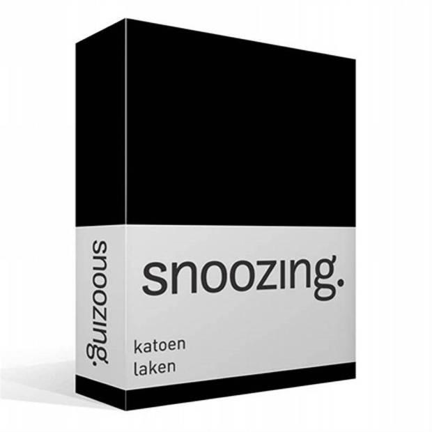 Snoozing - Laken - Katoen - Lits-jumeaux - 280x300 - Zwart