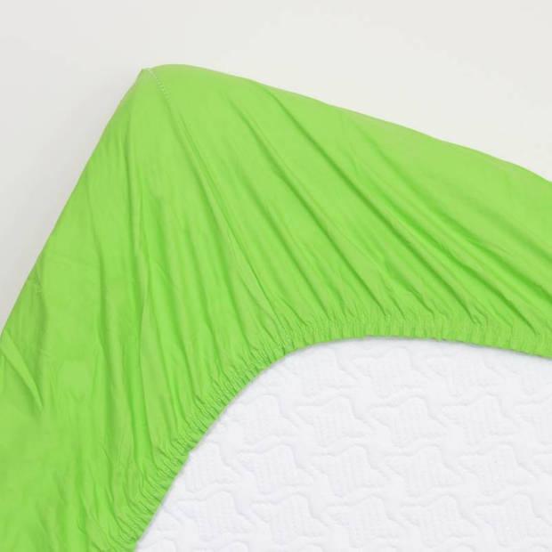 Snoozing - Hoeslaken -120x200 - Percale katoen - Lime