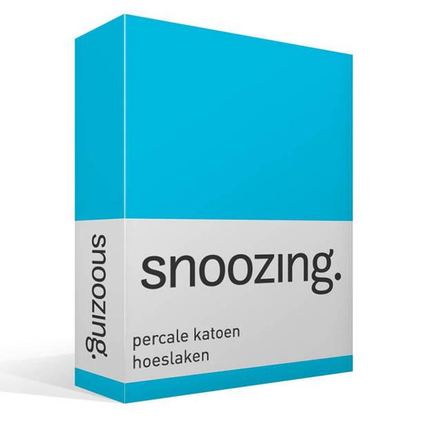 Snoozing - Hoeslaken -90x210 - Percale katoen - Turquoise