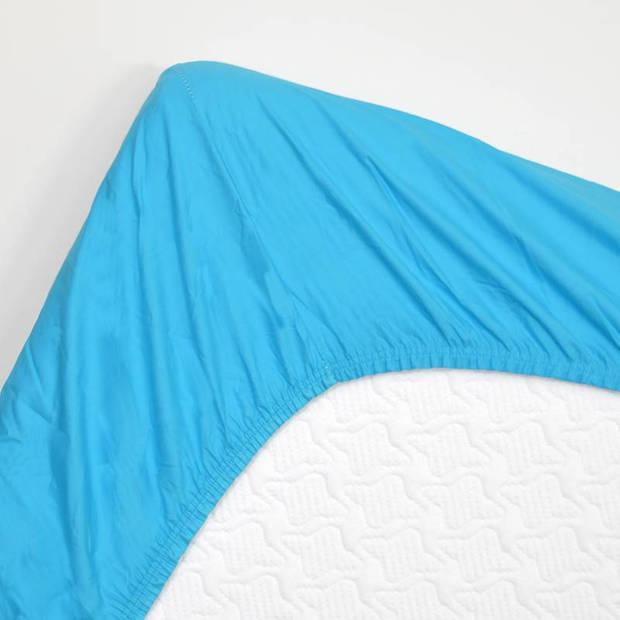 Snoozing - Hoeslaken -90x200 - Percale katoen - Turquoise
