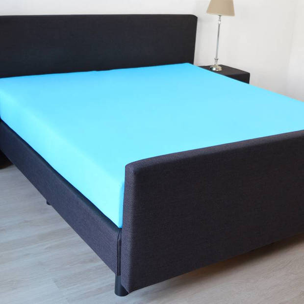 Snoozing - Hoeslaken -160x220 - Percale katoen - Turquoise