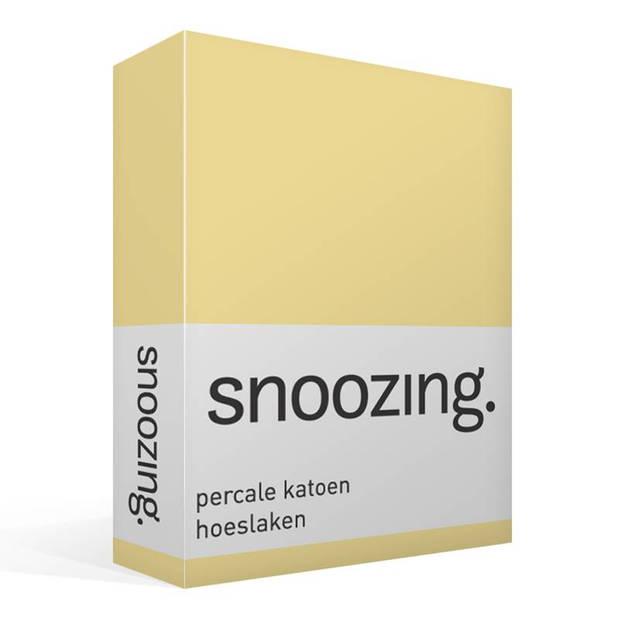 Snoozing - Hoeslaken -90x210 - Percale katoen - Geel