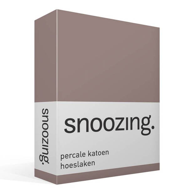 Snoozing - Hoeslaken -80x220 - Percale katoen - Taupe
