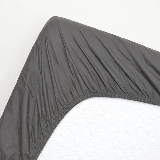 Snoozing - Hoeslaken -80x220 - Percale katoen - Antraciet