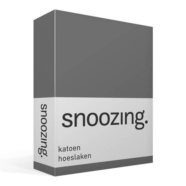 Snoozing - Hoeslaken -90x200 - Percale katoen - Antraciet