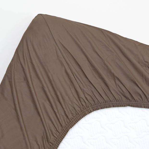 Snoozing - Hoeslaken -90x210 - Percale katoen - Bruin