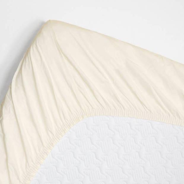Snoozing - Topper - Hoeslaken - 90x210 cm - Percale katoen - Ivoor