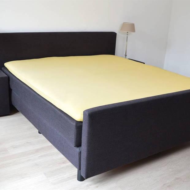 Snoozing - Topper - Hoeslaken - 100x220 cm - Percale katoen - Geel