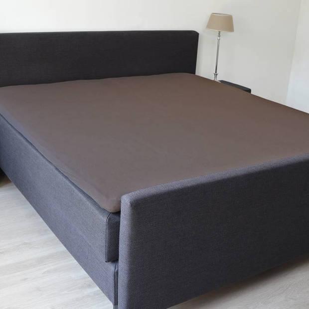 Snoozing - Topper - Hoeslaken - 150x200 cm - Percale katoen - Bruin