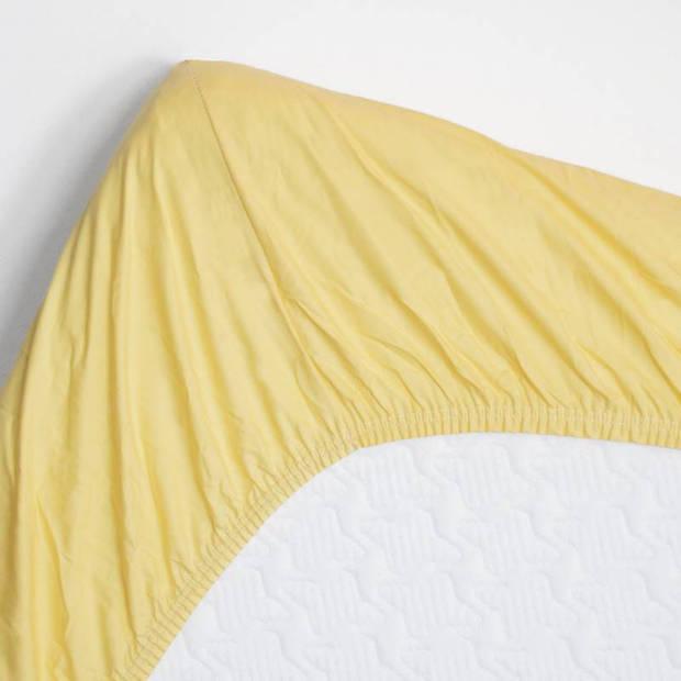 Snoozing - Topper - Hoeslaken - 80x200 cm - Percale katoen - Geel