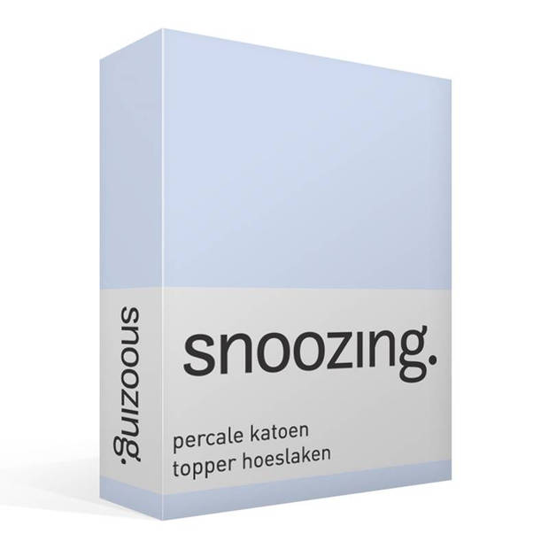 Snoozing - Topper - Hoeslaken - 90x220 cm - Percale katoen - Antraciet