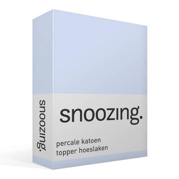 Snoozing - Topper - Hoeslaken - 90x210 cm - Percale katoen - Antraciet